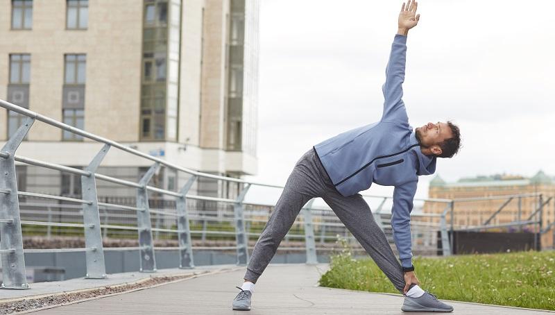 man exercising post covid
