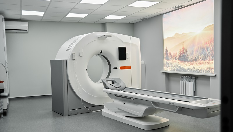 MRI - Magnetic resonance imaging scan device in Hospital. Medical Equipment and Health Care. CT - Computerized Tomography Scan Device in Hospital.